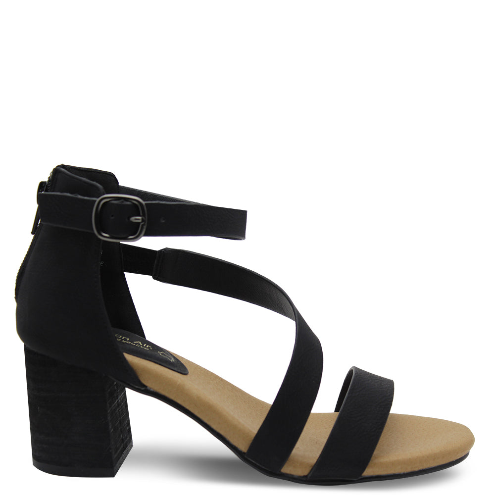 Step On Air Facts Black Heel Sandal