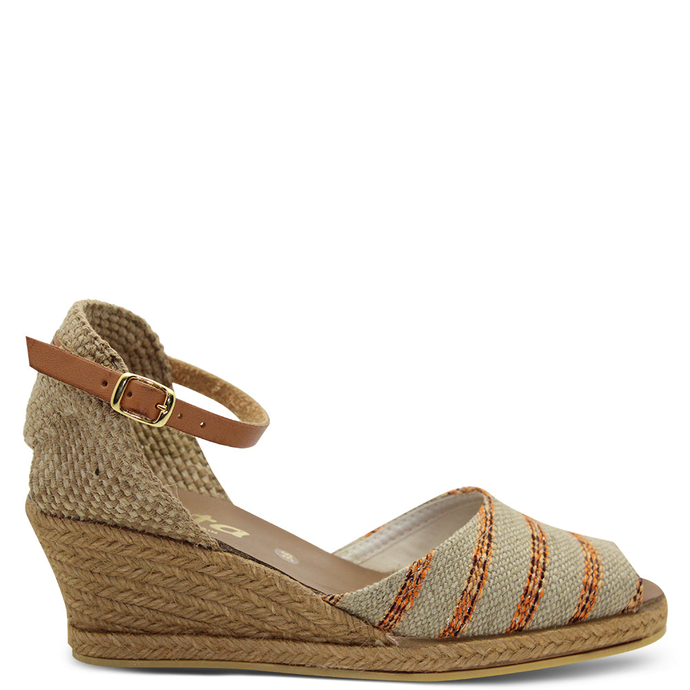 Zeta Sami Beige/Orange Women's Wedge sandal
