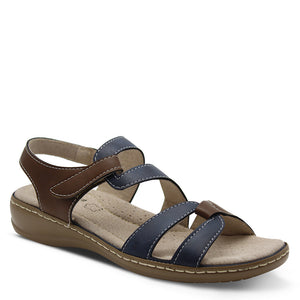 Comfort Leisure Bella Women's Navy/Brown Flat Sandal