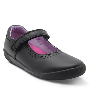 Clarks Bow Girls Velcro Black School Shoe