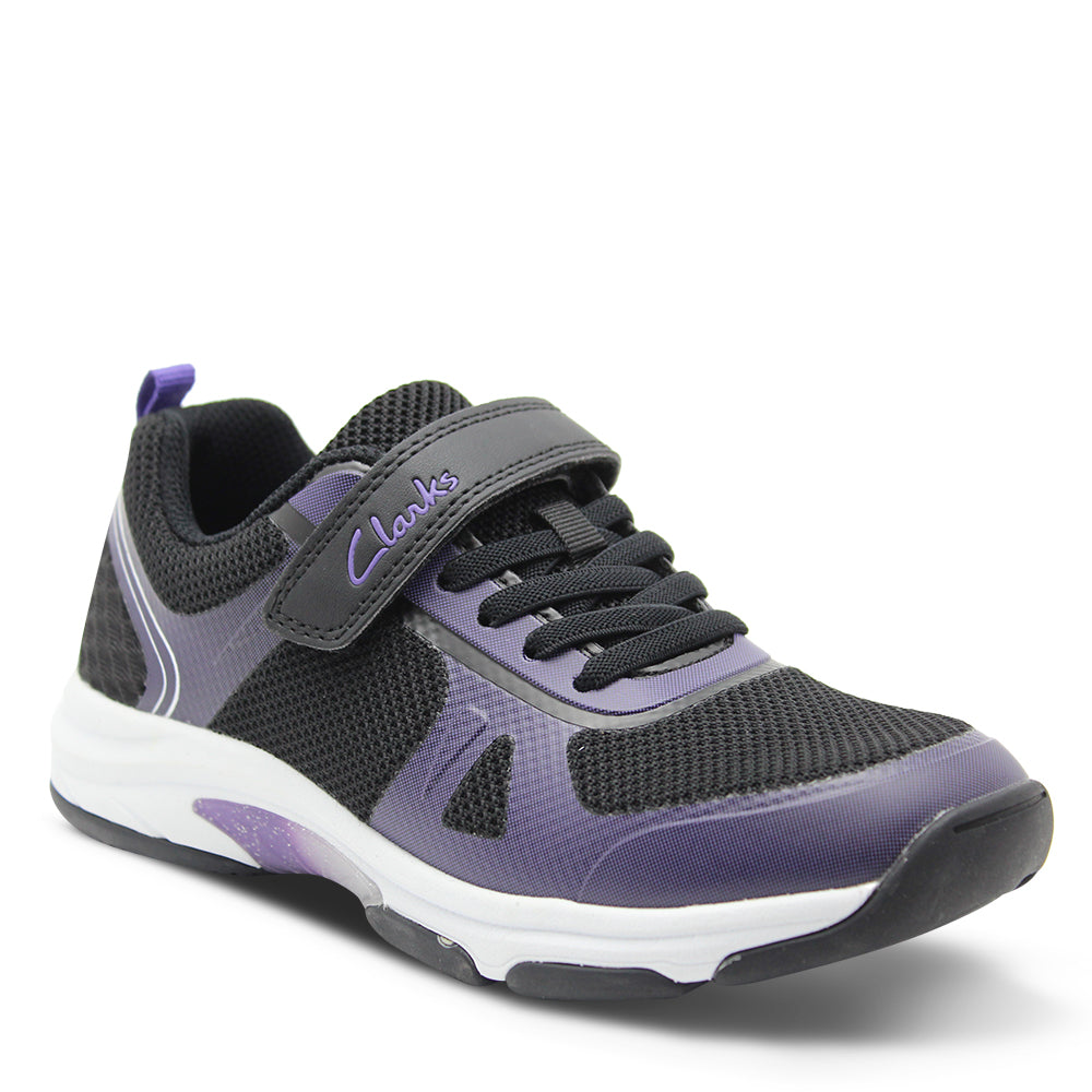 Clarks Active Black/Purple Velcro Kids Runner