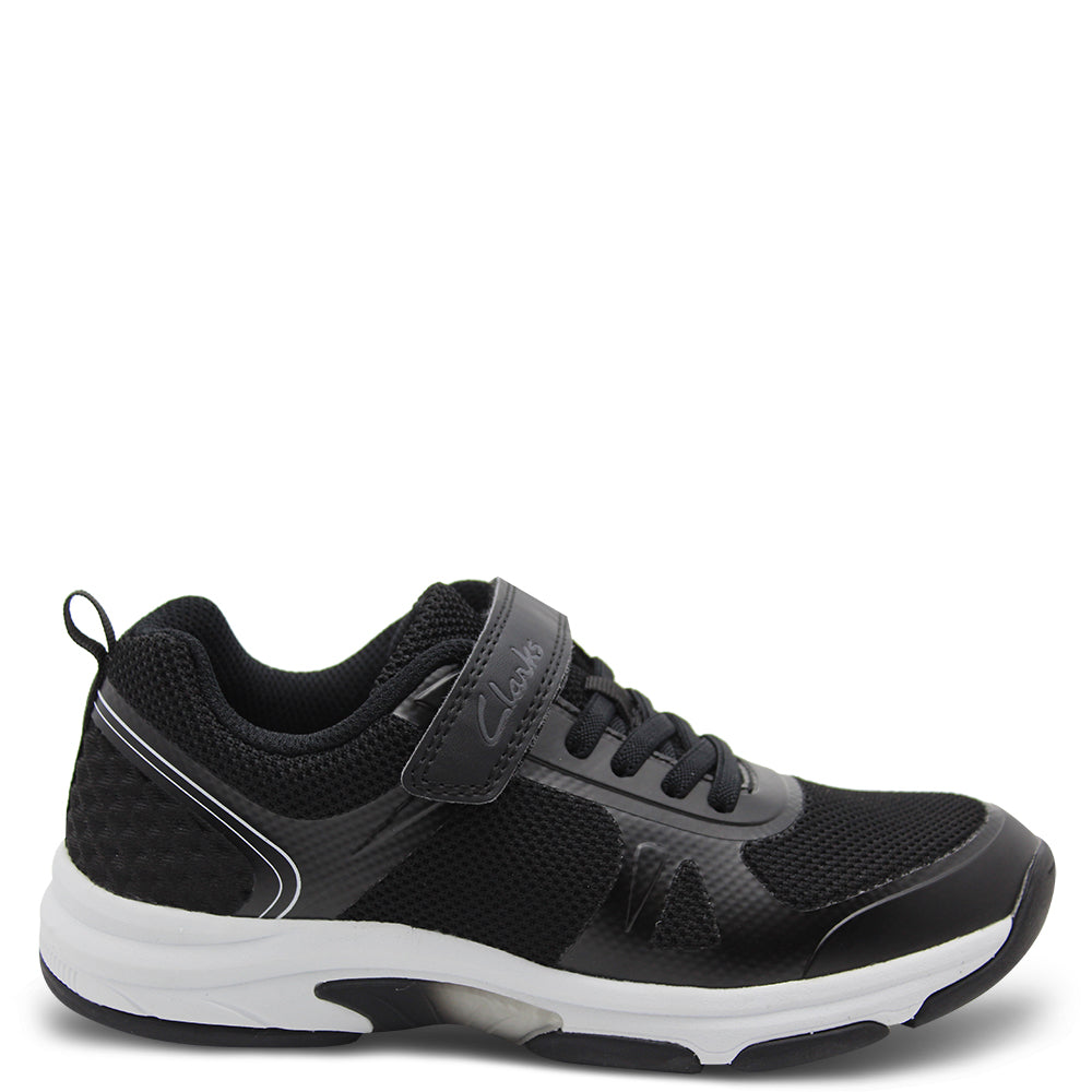 Clarks Active Black Velcro Kids Runner