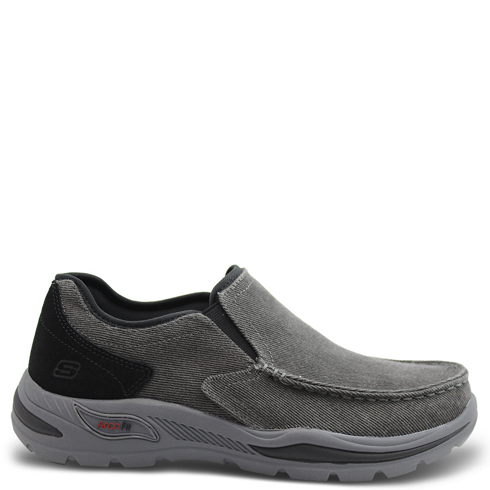 Skechers Rolens Arch fit Black Slip On Shoe
