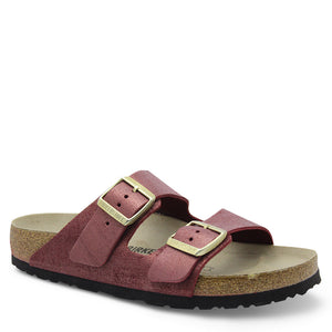 Birkenstock Arizona Washed suede Metallic Port Sandal