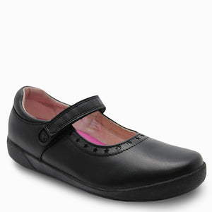 Clarks Bloom Black velcro school shoe