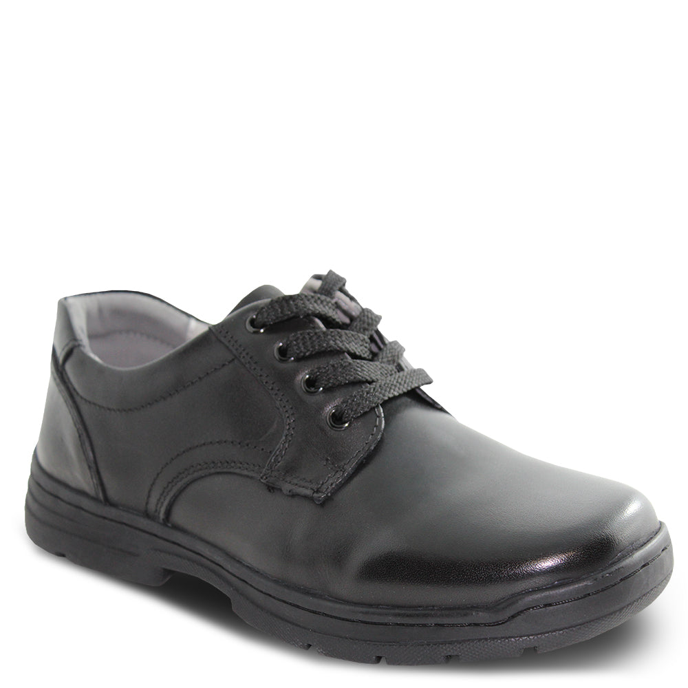Colorado Castor Black lace up school shoes