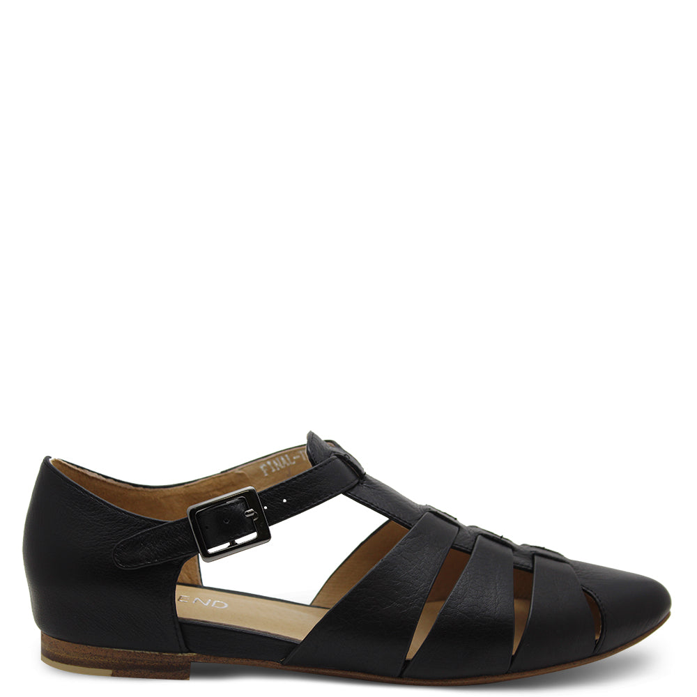 Top End Final Black Womens Flat Sandal