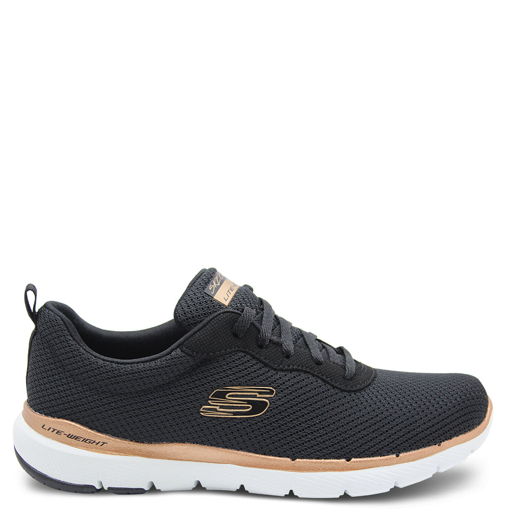 Skechers Flex Appeal First Insight Black/Bronze Womens Sneaker