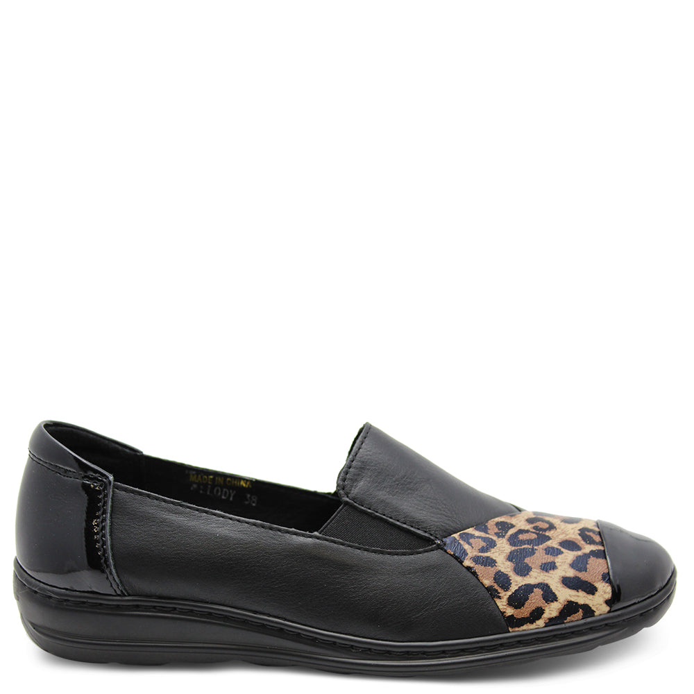 Cassini Melody Black Leopard Womens Flat