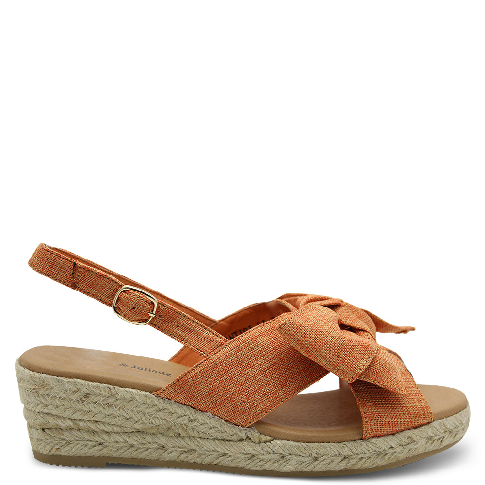 Django & Juliette Santiri Orange Wedge Sandal