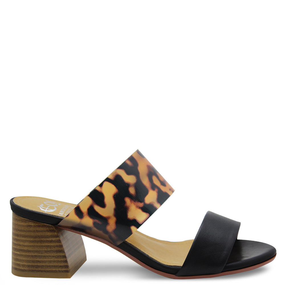 Eos Stat Black Leopard Womens Slide