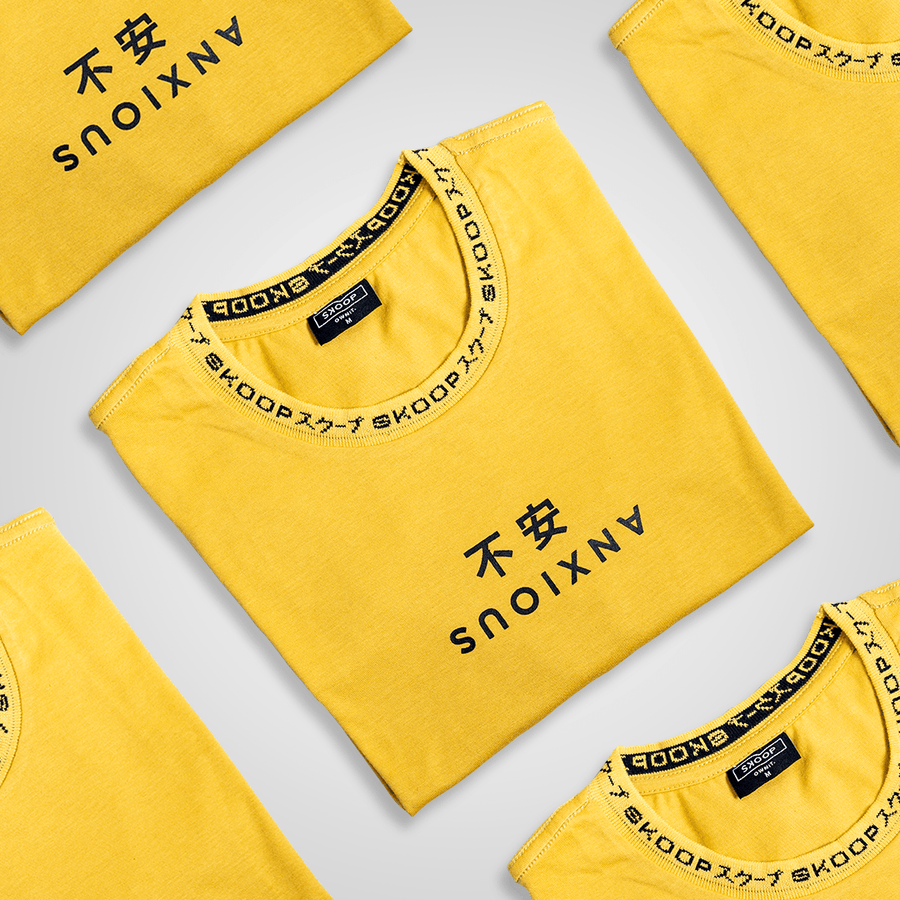 Anxious Signature Yellow Tee - Skoop Kommunity