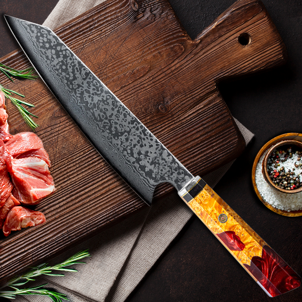 Wood Resin Damascus Steel Chef Knives