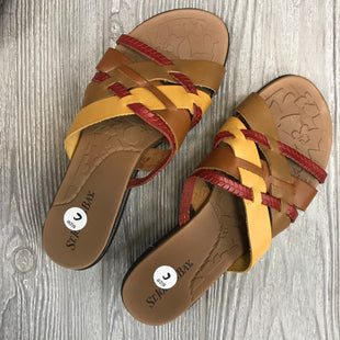 SANDALS BY ST JOHNS BAY SIZE 6 - MUSTARD AND MAROON.