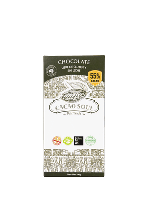 Chocolate 55% cacao Sin gluten orgánico 100 grs- CACAO SOUL