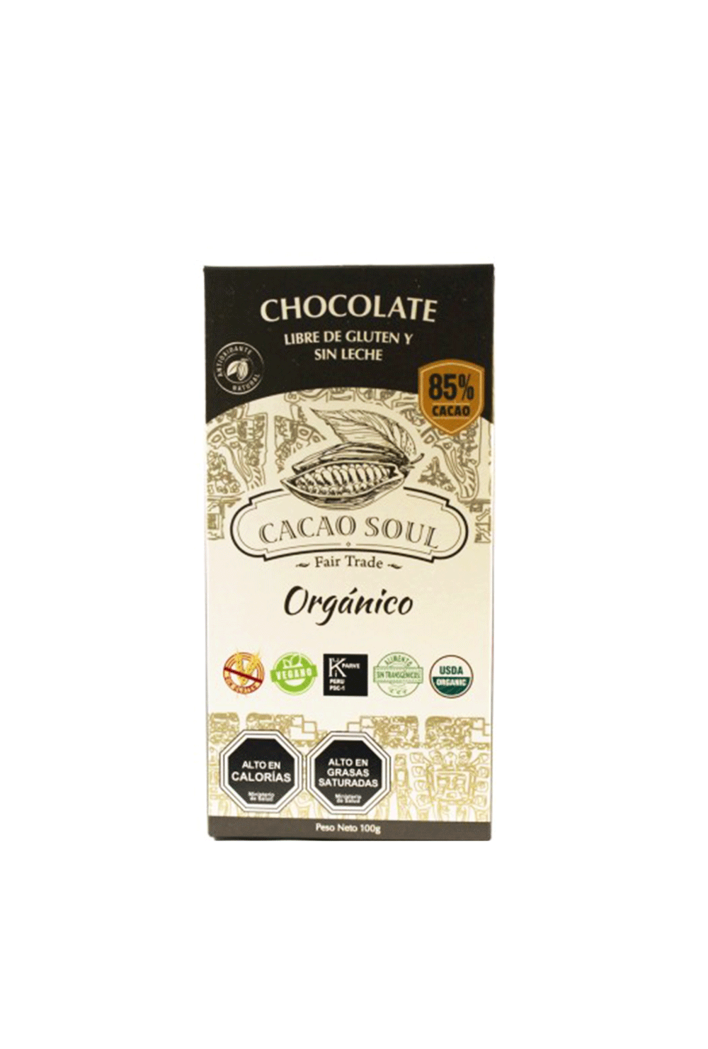 Chocolate 85% cacao Sin gluten orgánico 100 grs CACAO SOUL