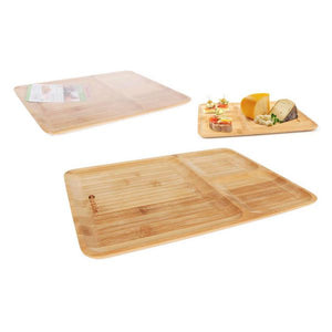 Tray with Compartments Quttin Bamboo Natural (24 x 32 x 1,2 cm)