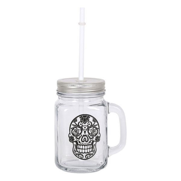 Jar with Lid and Straw Skull 450 ml