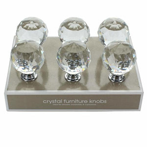 Door handle Circular Crystal Transparent (6 uds) (40 mm) (Refurbished A+)