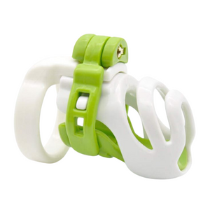 white + green resin male chastity cage
