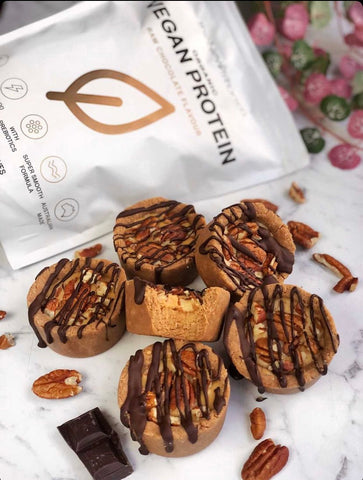 Chocolate Peanut Butter Pecan Cups Plant Protein Recipe using Newtrition Co Supplements