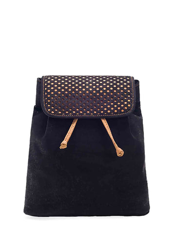 Black-tinted Cork Drawstring Backpack with Cut-outs