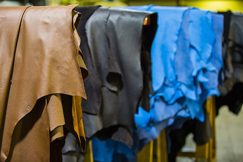 Animal leather in a tannery