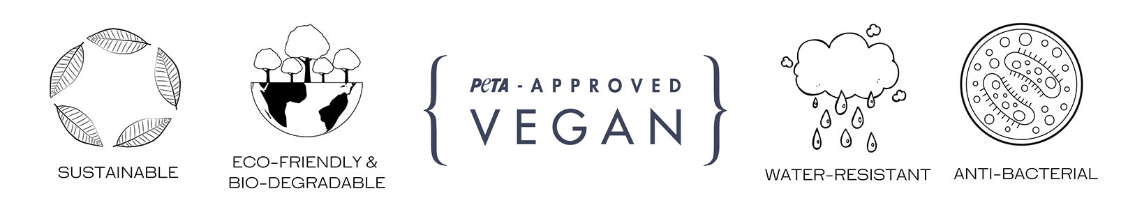 sustainable, biodegradable, eco-friendly, peta-approved vegan, waterproof and anti-bacterial logos aligned