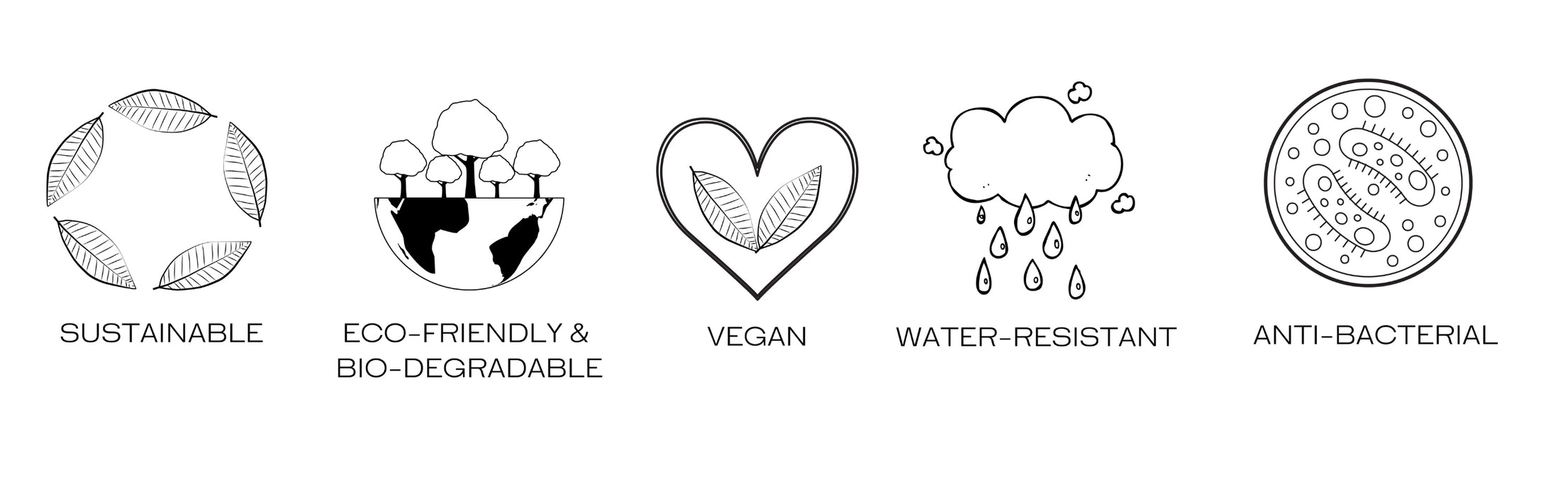 Sustainable, Eco-friendly and Bio-degradable, Vegan, Water-resistant and Anti-bacterial logos