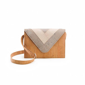 Natural cork cross-body bag with geometric motif in white and grey - front view