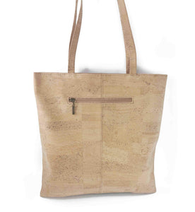 Natural and Orange Cork Fabric Tote Bag with Zipper - Back View