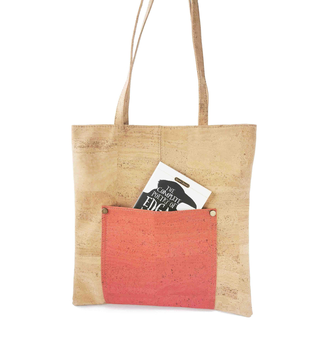 Natural and Orange Cork Fabric Tote Bag with Zipper - Front view