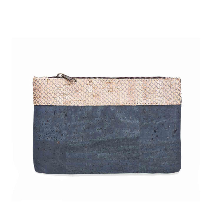 Natural and blue cork fabric purse with zipper and silver net detail, front view