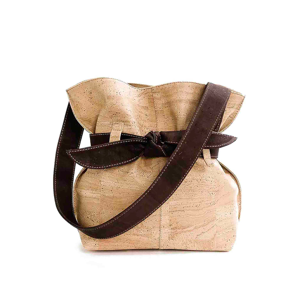 Natural and brown cork fabric bucket bag with bow