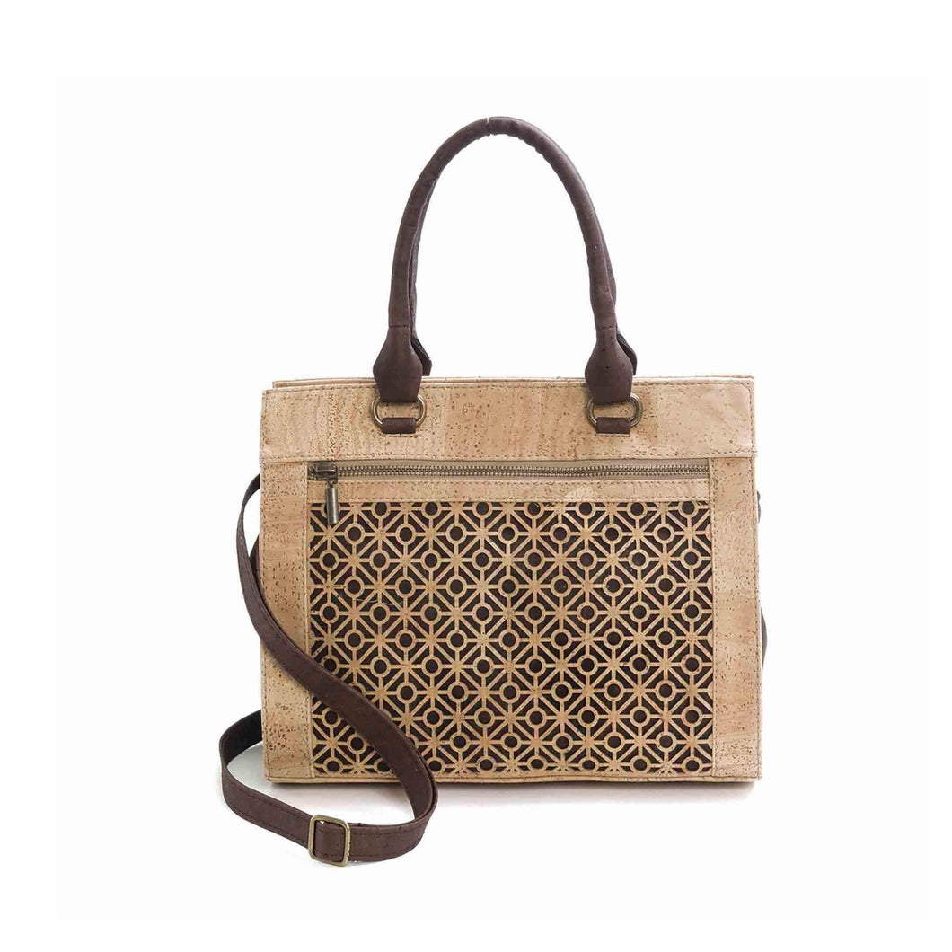 Natural and brown cork fabric handbag with Portuguese tile cut-outs, front view