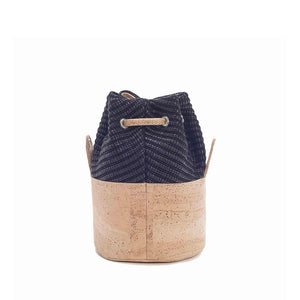 Natural cork leather and black eco-friendly fabric bucket bag with drawstring, back view