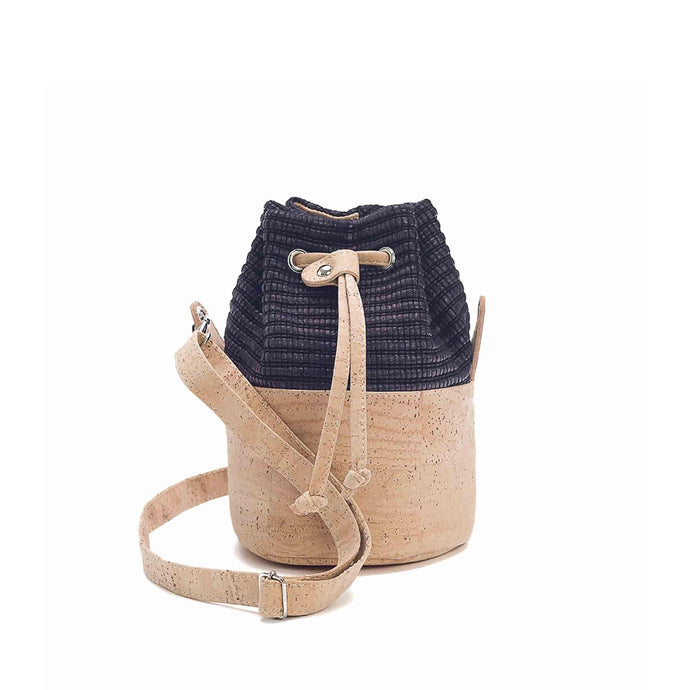 Natural cork leather and black eco-friendly fabric bucket bag with drawstring