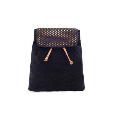 Black cork backpack for women with drawstring and cut-outs