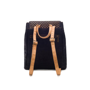 Black cork backpack for women with drawstring and cut-outs, back view
