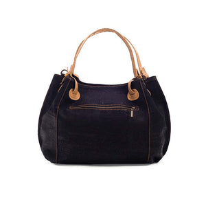 Black vegan cork leather handbag, back view