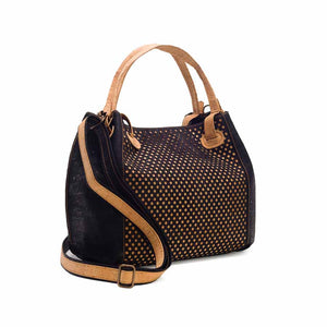 Black vegan cork leather handbag, side view