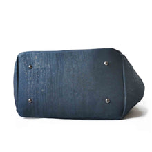 Load image into Gallery viewer, blue cork hobo bag, bottom view
