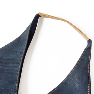 Blue cork hobo bag - shoulder strap in natural cork