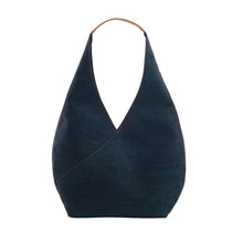 Load image into Gallery viewer, Blue cork hobo bag front view