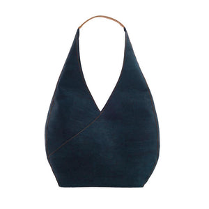 Blue cork hobo bag front view