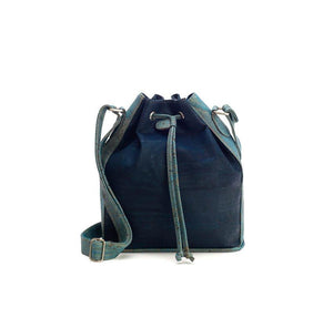Blue-tinted cork fabric bucket bag with drawstring front