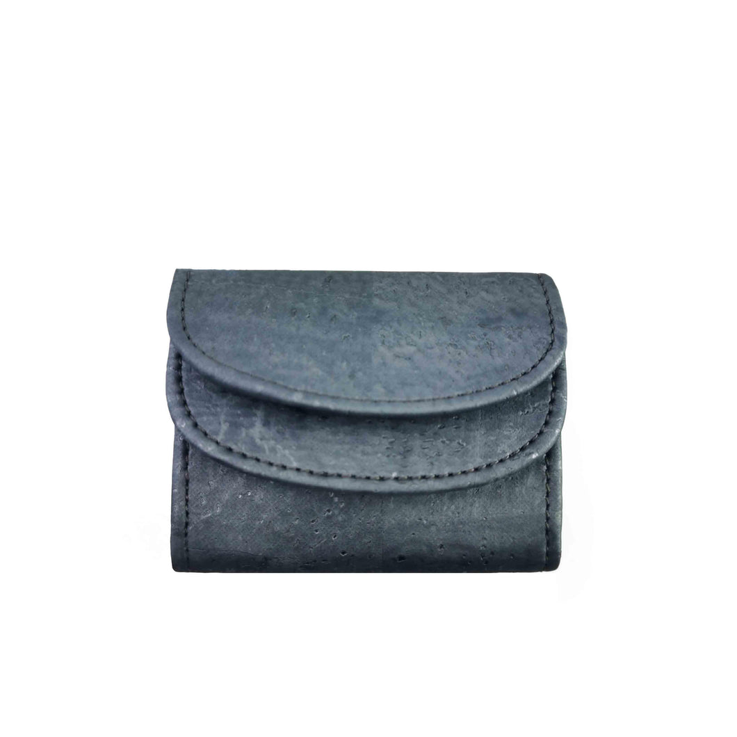 Blue-tinted cork fabric mini wallet with silver tones