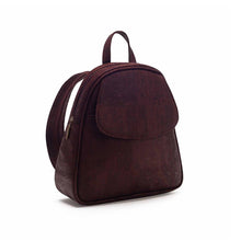 Load image into Gallery viewer, Brown-tinted cork fabric backpack side view