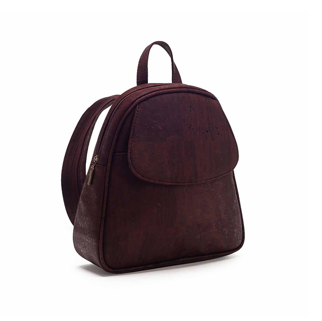 Brown-tinted cork fabric backpack side view