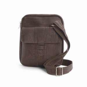 Brown cork fabric messenger bag for men, vegan and eco-friendly, front view